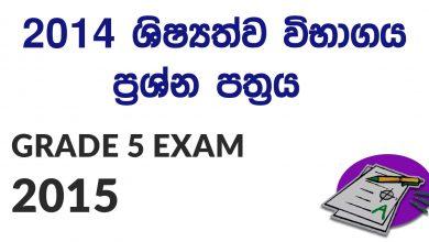 Grade 5 Scholarship Exam 2015 Paper