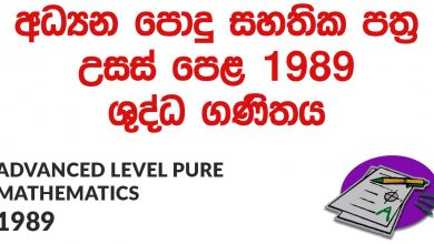 Advanced Level Pure Mathematics 1989 Paper