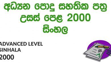 Advanced Level Sinhala 2000 Paper