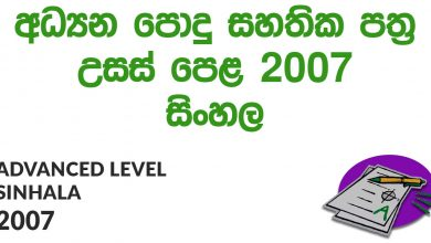 Advanced Level Sinhala 2007 Paper