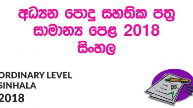 Ordinary Level Sinhala 2018 Paper