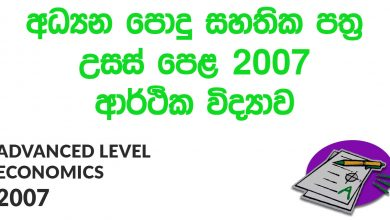 Advanced Level Economics 2007 Paper