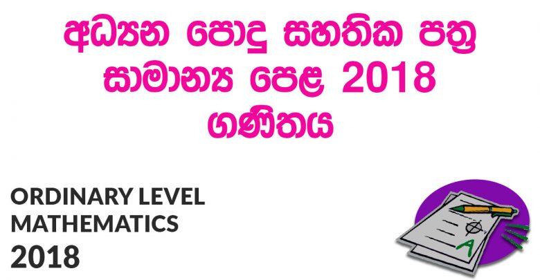 Ordinary Level Mathematics 2018 Paper