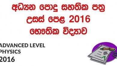 Advanced Level Physics 2016 Past Paper